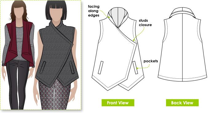 Stylish wrap top with stud opening and welted pockets, 75cm of 150cm wide fabric and 60cm of lining