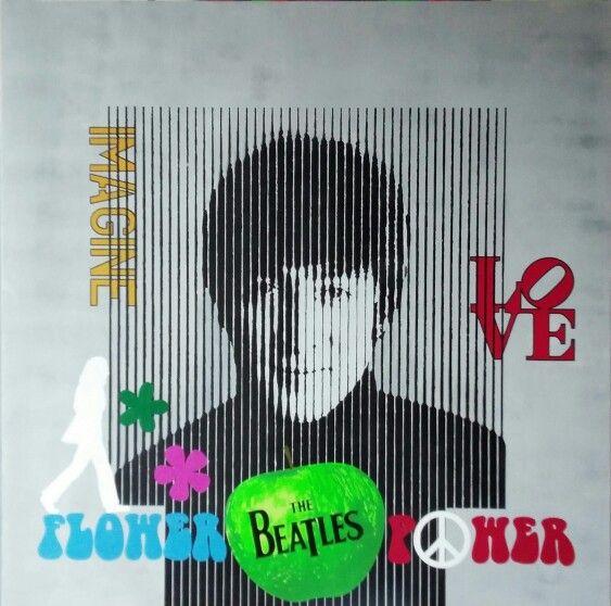 Flower Power John Lennon in progress Acrylic on canvas 100x100cm #Flower Power #lennon #england #art #painting #thebeatles #love
