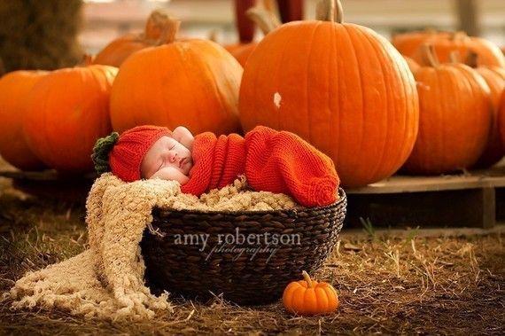 110 Pumpkin Harvestadorable cocoon wrap and beanie by fairyshred