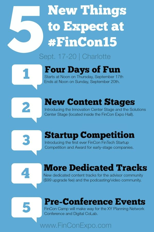 We recently announced the date and location for #FinCon15. We'll be in Charlotte, NC on Sept. 17-20, 2015. Here is what to expect before you purchase your pass and make your travel plans.