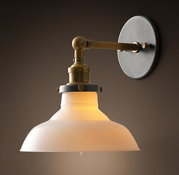 Breakfast room sconce 20th C. Factory Filament Milk Glass Barn Sconce