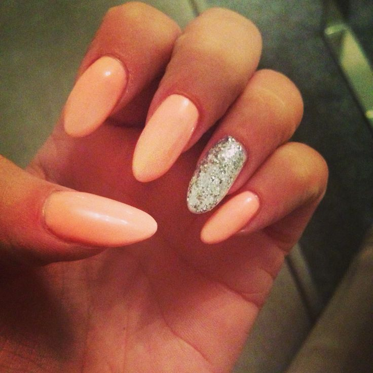 Peach And Silver Acrylic Almond Nails