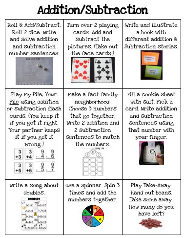 Addition/Subtraction Choice Board