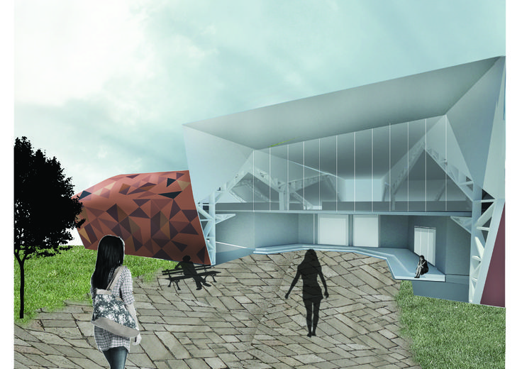 Patmala Boondej 5434777425 (aj.Pan) Meet Meat building. The image shows the entrance of the building and the surrounding environment and atmosphere of what Meet Meat is supposed to be like.