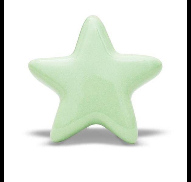Ceramiczna gałka meblowa - rozgwiazda w kolorze miętowym.  Wymiary: Średnica / Szerokość - 5,0cm Głębokość - 2,0cm Długość gwintu - 4,5cm Średnica gwintu - 4mm