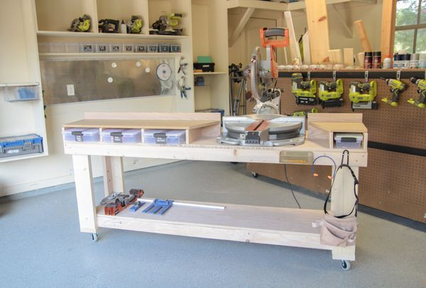Diy miter saw bench the home depot workshop classic for Simple workshop table