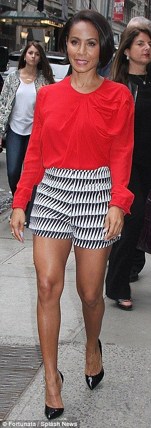 Sexy in the city: Jada Pinkett Smith showed off her leggy side in two chic ensembles for h...