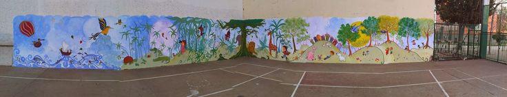 pintura mural para niños: soñando despiertos para un colegio. #pinturamural #pintadoamano #susoleto