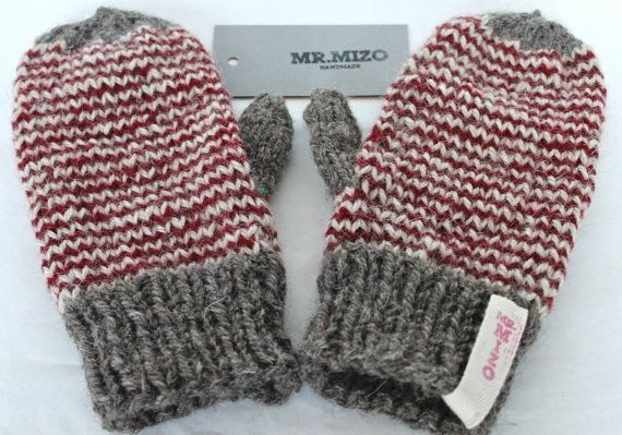 Hand Knit Wool Mittens Grey and Red, Hand Knit Gloves, Soft, Women Accessories, Striped Mittens