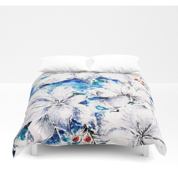 Blue Christmas Duvet Cover ($100) ❤ liked on Polyvore featuring home, bed & bath, bedding, duvet covers, blue bed linen and blue bedding
