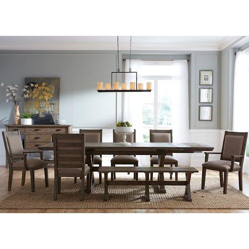 Kincaid Furniture Foundry Eight Piece Rustic Dining Set With Bench