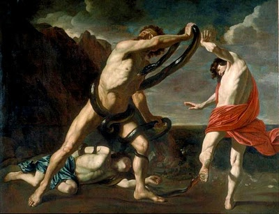 Pieter Claesz Soutman (1580-1657) : Laocon et ses deux fils mordus par des serpents. Toile caravagesque éclairée par un violent clair obscur. Nus drapés.