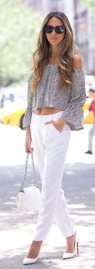 #summer #feminine #outfits | Printed Off Shoulder Crop Top White Trousers