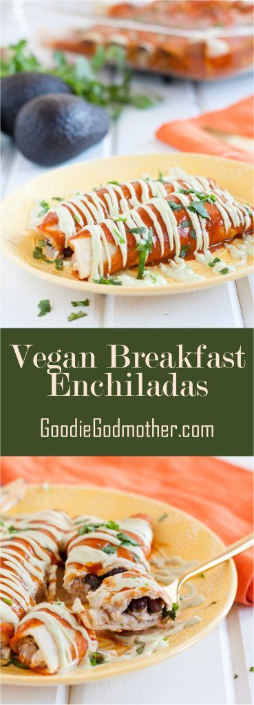 "Vegan breakfast enchiladas! A delicious, savory vegan breakfast casserole recipe that's so good, even ""tofu haters"" won't care. Recipe on GoodieGodmother.com"