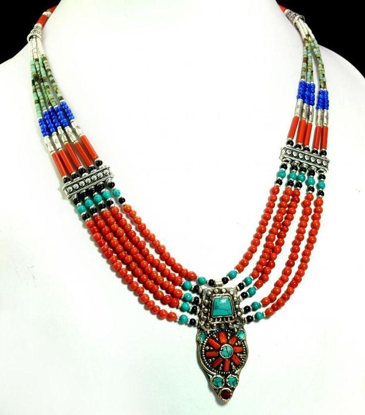 A Vintage Silver Nepali Turquoise Coral & Lapis Designer Gemstone Necklace #Handmade #Choker
