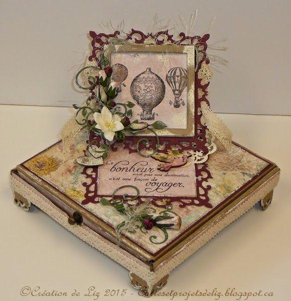 """Cartes artisanales et autres projets artistiques de Liz: Une Boitatou """"Coffret- Surprise"""" pour un anniversaire au féminin!"""