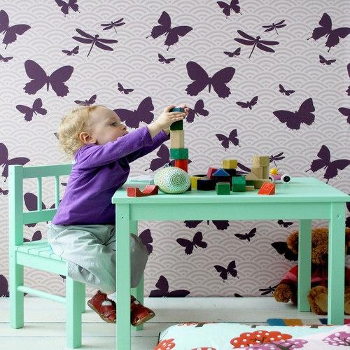 Kids Wallpaper Butterflies & Ferm Living Butterflies Wallpaper   YLiving