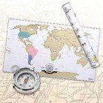 Scrape off World Map – Carte du monde à gratter en français – Taille XXL – Qualité supérieure: Feuille recouvert de titane métallique -…