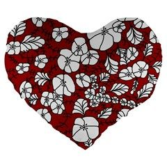Cvdr0098 Red White Black Flowers Large 19  Premium Flano Heart Shape Cushions from CircusValley Mall Front