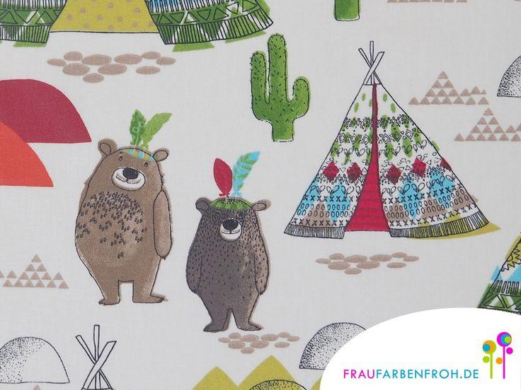 Wachstuch - WACHSTUCH BÄRENFREUNDE beschichtete Baumwolle rot - ein Designerstück von FrauFarbenfrohStoffe bei DaWanda