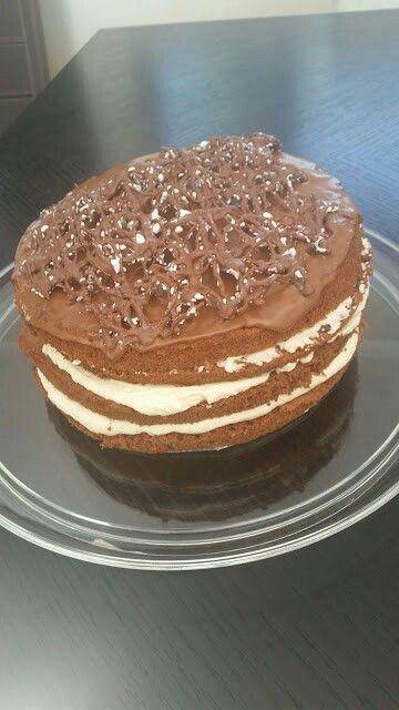Choc cream cake with choc mountain
