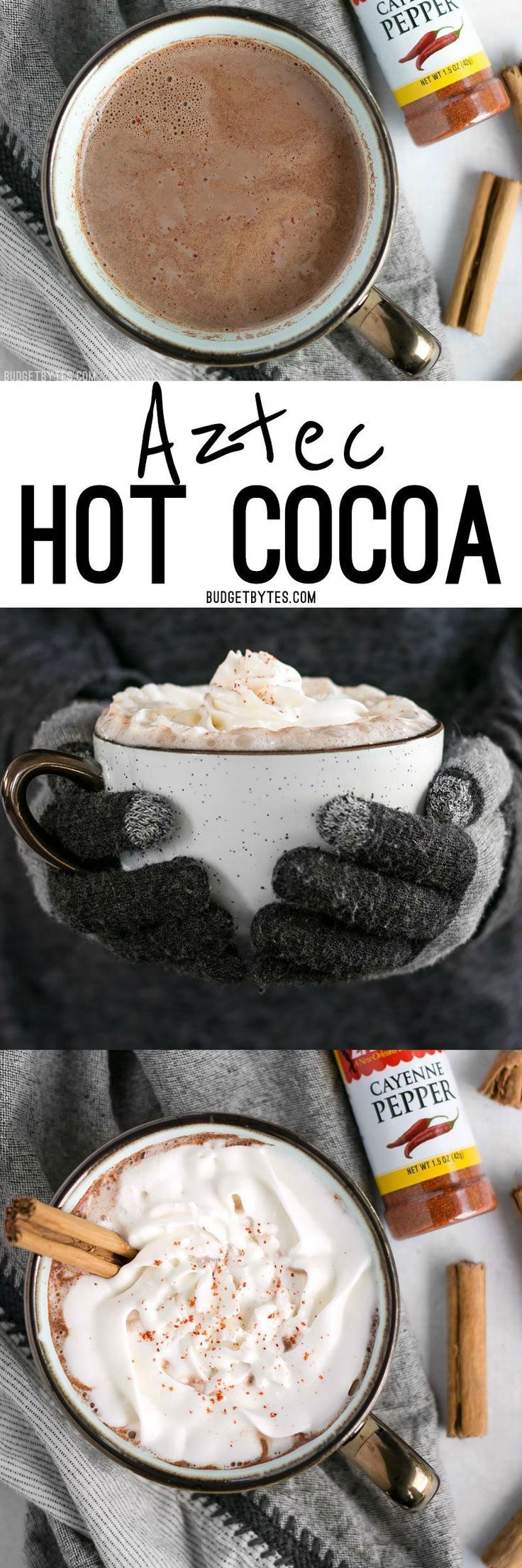 This Aztec cocoa is rich and warm with a touch of earthy cinnamon and a slight kick from cayenne pepper to heat you up inside and out. @budgetbytes