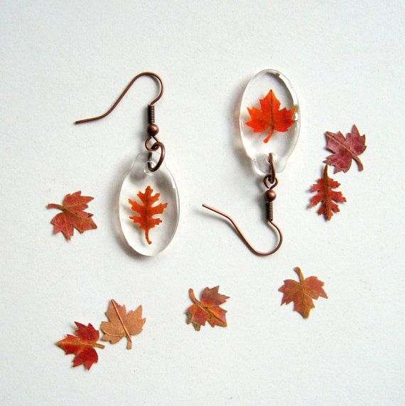 Real Autumn Leaf Woodland Earrings Botanical by enchantedplanet