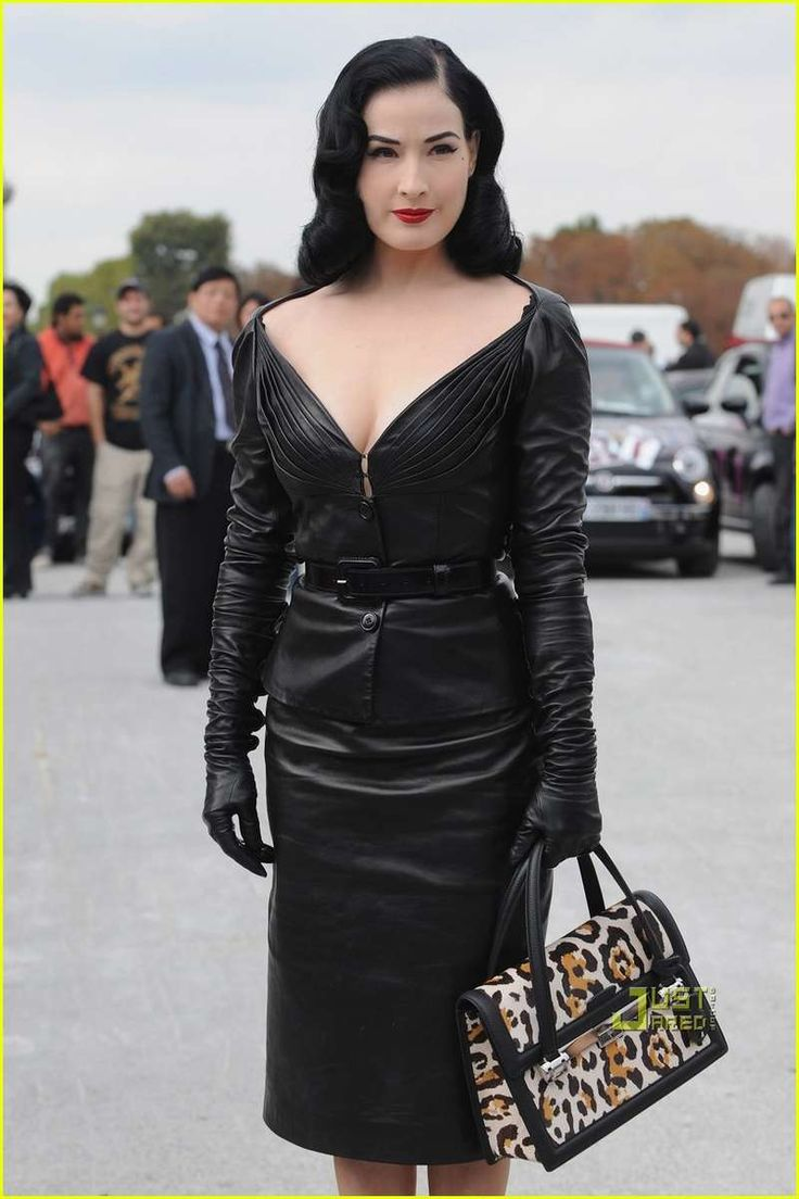 50s Domina Fashion: Dita Von Teese Rocks Head-To-Toe Leather at Christian Dior's Paris Fashion Week