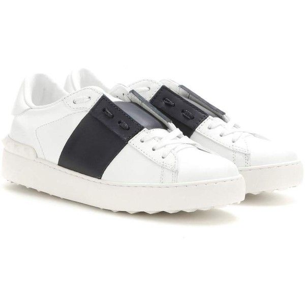 Valentino Open Leather Sneakers ($620) ❤ liked on Polyvore featuring shoes, sneakers, white, leather shoes, valentino sneakers, valentino trainers, white leather trainers and white sneakers