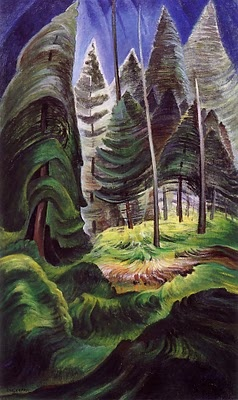Emily Carr. Oh the shapes of her evergreens. Some move up, some move down.....