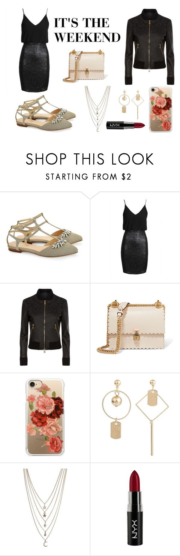 What better way to celebrate the weekend than to rock some slick black cami velvet dress and a black leather jacket for the Fall cold. For accessories, add Bella Belle's fancy dressy comfortable gold flat sandals with embellished silver crystals and an ankle strap, Fendi's white bad, Nyx's red lipstick, a floral case, and some gold jewelry.  #polyvore #polyvorefashion #fallfashion #fall2017