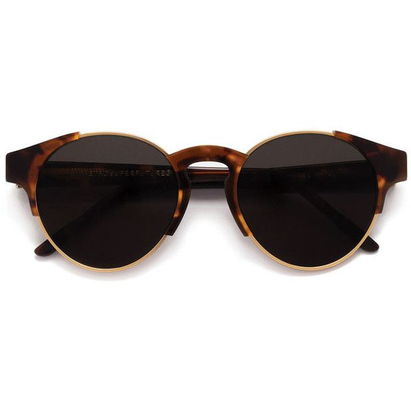Arca Classic Havana Sunglasses (€225) ❤ liked on Polyvore featuring accessories, eyewear, sunglasses, glasses, tortoiseshell glasses, tortoise shell glasses, retrosuperfuture sunglasses, western sunglasses and retrosuperfuture
