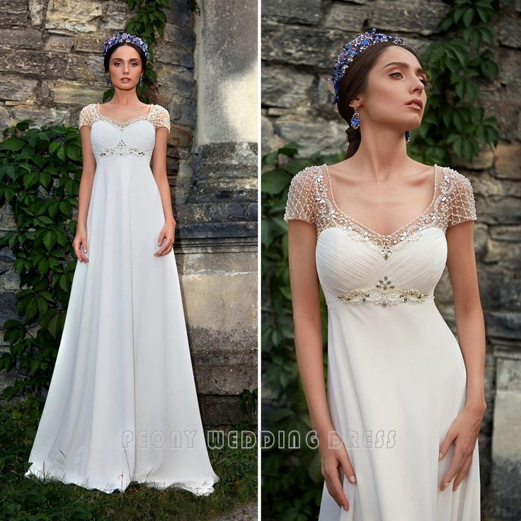 Find a Shinning Beading Wedding Dresses With Sleeves Empire Pearls Beach Wedding Dress Chiffon Bridal Dresses Ivory Wedding Gowns Online Shop For U !