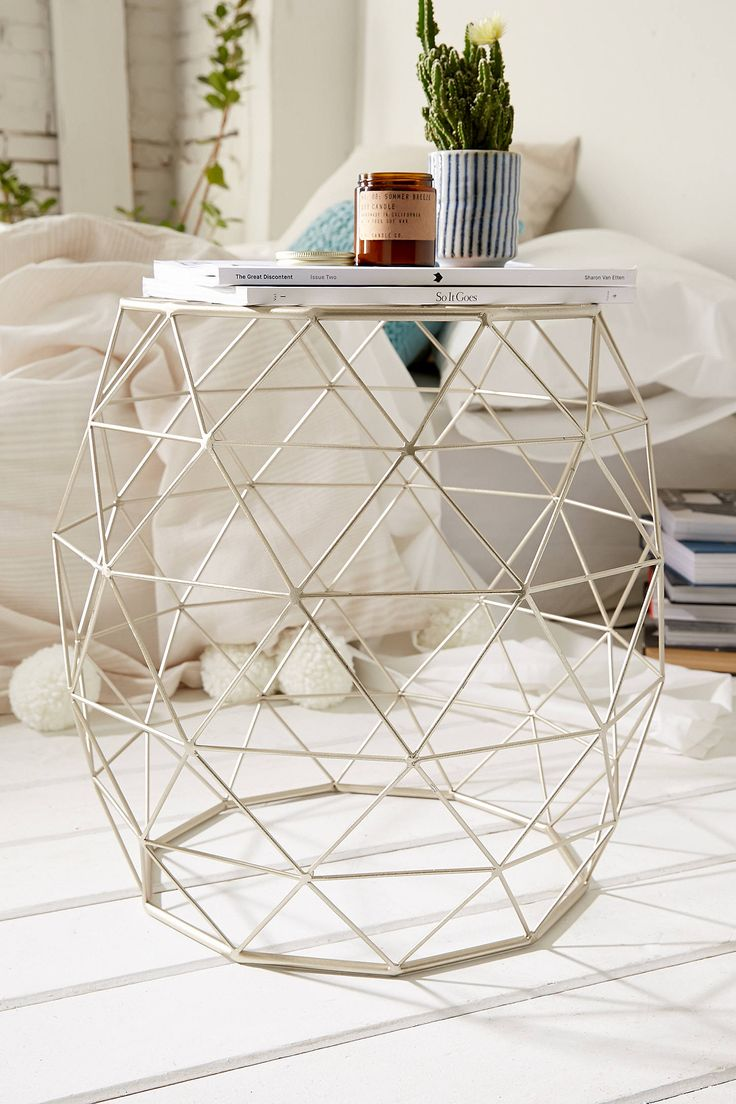 Slide View: 1: Geometric Metal Side Table