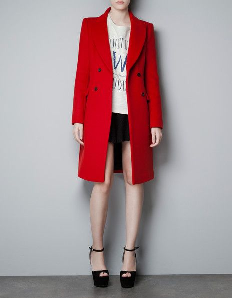 Zara's Double Breasted Red Coat