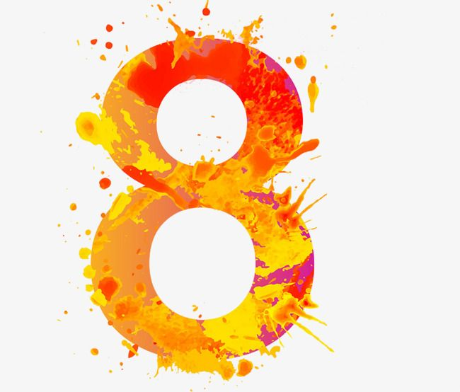 Watercolor Number 8 Png And Clipart