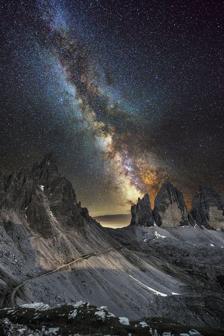 Milky Way over Lavaredo on 500px by Luca Cruciani, Macerata, Italy ☀ NIKON D800-f/2.8-24s-14mm-iso3200, 1135✱1700px-rating:99.9 ◉ Photo location: Google Maps