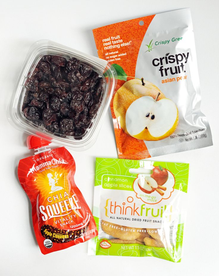 Fresh fruit is prone to bruising; either wrap a hardier piece, like an apple or a banana, in a dishtowel for padding, or tuck one of these dried or pureed options into your bag.   Whole Foods Dried Tart Cherries ($6) Crispy Fruit Asian Pear ($2) Thinkfruit Cinnamon Apple Slices ($2) Mama Chia Chia Squeeze Apple Cinnamon ($2)