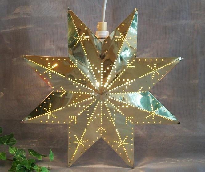 Julstjärna Adventsstjärna av ÄKTA Mässing Fungerande o Kompl
