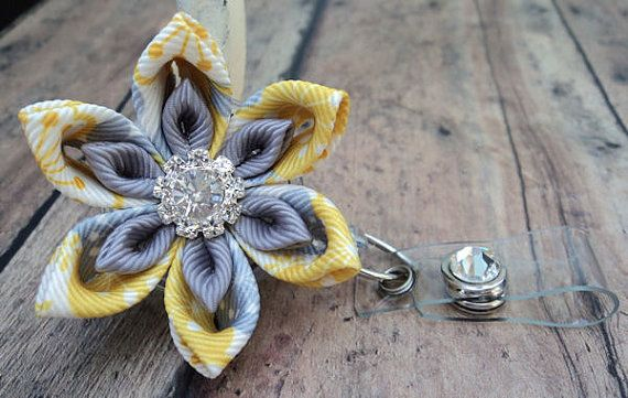 Retractable Id Badge Reel, Gray and Yellow Floral Ribbon Flower Badge Reel ID, Cute Badge Reel, Kanzashi Badge Reel, Bling Badge Reel