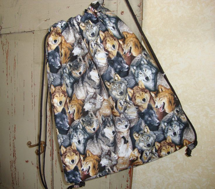 Wolf Drawstring Bag by EYPDesigns on Etsy