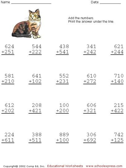 1000+ images about Free Addition Worksheets, 2 or 3 Digits on ...