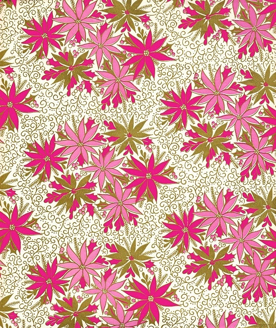 holiday: Vintage Wraps, Pretty Pink Things, Pink Christmas, Sweet Lulu, Vintage Prints, Paper Flowers, Wraps Paper, Christmas Wraps, Green Flowers