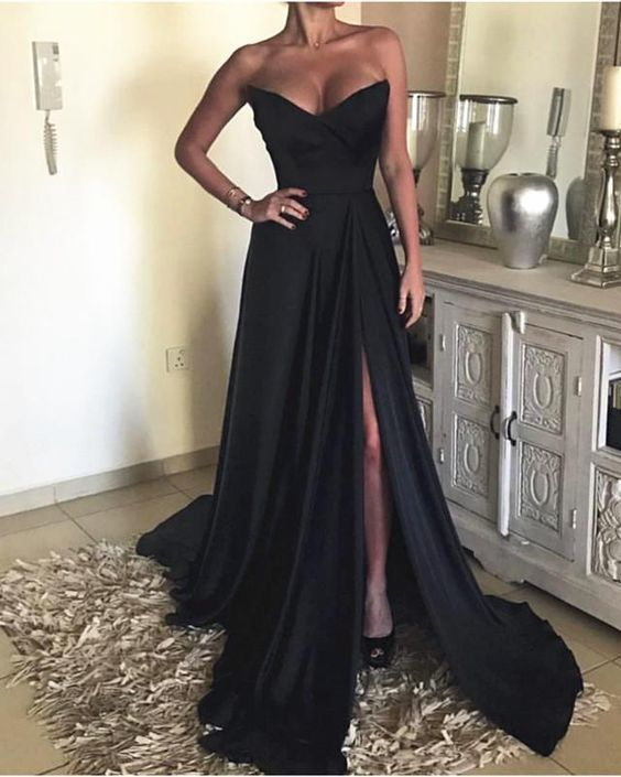 3ad5b3c0a5d11 Sexy Strapless Long Satin Split Prom Evening Dresses 2019 in 2019 ...
