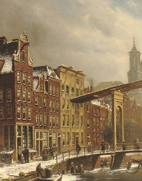 Oene Romkes De Jongh - Winters gezicht op een gracht in Amsterdam met op de achtergrond de Mozes en Aaron kerk