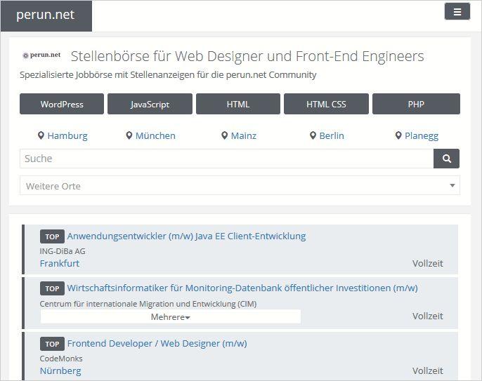 Webworker-Jobbörse auf perun.net  Development WordPress & Webwork
