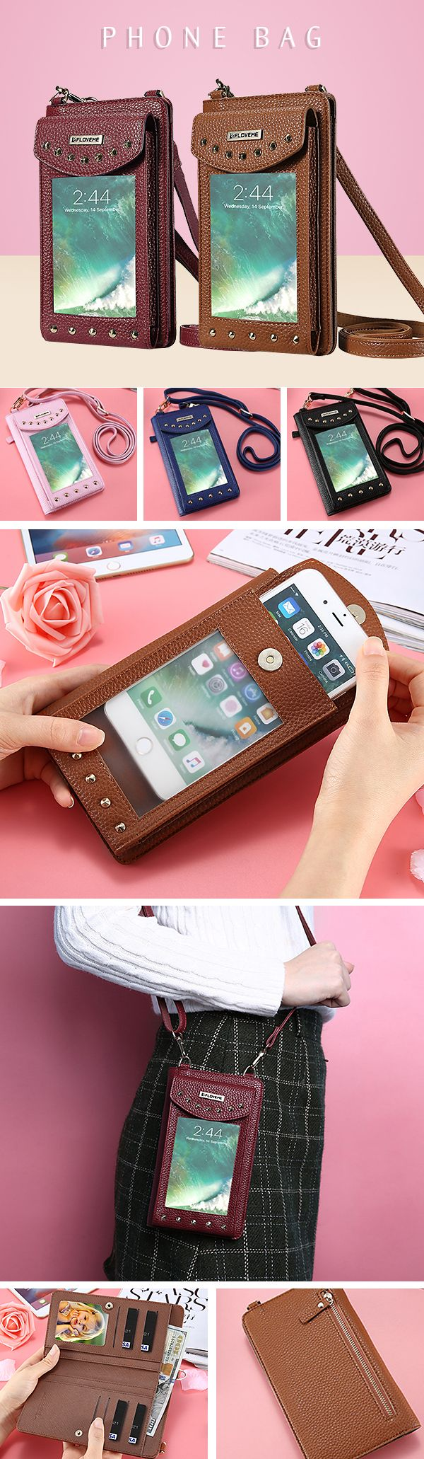[$ 19.89]   5.5inch Phone Bag PU Leather Portable Wallet Card Holder Purse