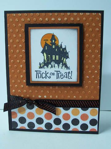Stampin Up Best of Halloween Handmade Greeting Card: Happy Halloween Card, Haunted House, Trick or Treat