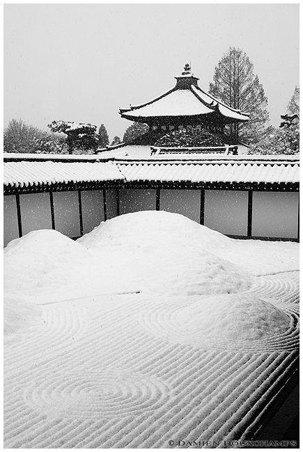 京都、東福寺、石庭/Snow in Zen Garden, Tofuku-ji Temple, Kyoto,