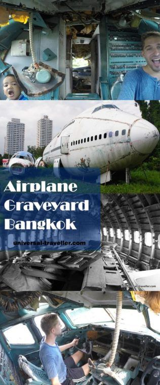 Airplane Graveyard Bangkok, Thailand. Visit Bangkok's Airplane Graveyard and walk on the wings of an old airplane and take photos of an abandoned Jumbo Jet Boeing-747 and two MD-82 Jetliners. Read here how to get to the Airplane Graveyard in Bangkok and how much it costs to visit the Bangkok Airplane Graveyard.